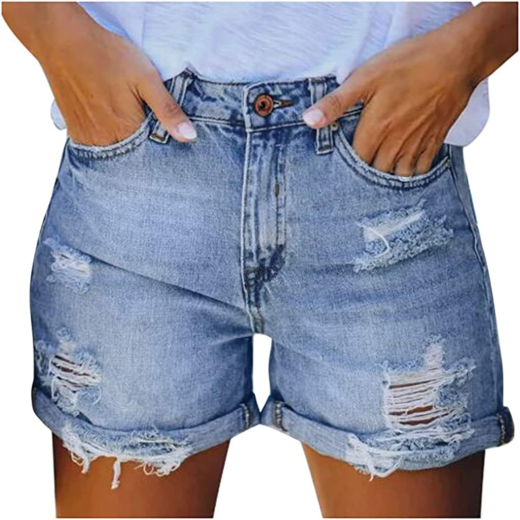 HCNTES Denim Shorts for Women,Denim Shorts for Women Distressed Ripped Summer Stretchy Frayed Raw Jeans Shorts