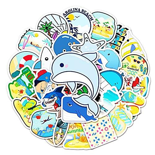 LSPLSP Conjunto de pegatinas de animales marinos Seaworld planta coral medusas lindas historietas impermeables pegatinas infantiles scrapbook calcomanía 50 piezas
