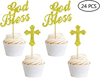 24 PCSGod Bless and Baptism Cupcake Toppers Christian Party Decorations Favor Wedding Birthday Cake Decorations