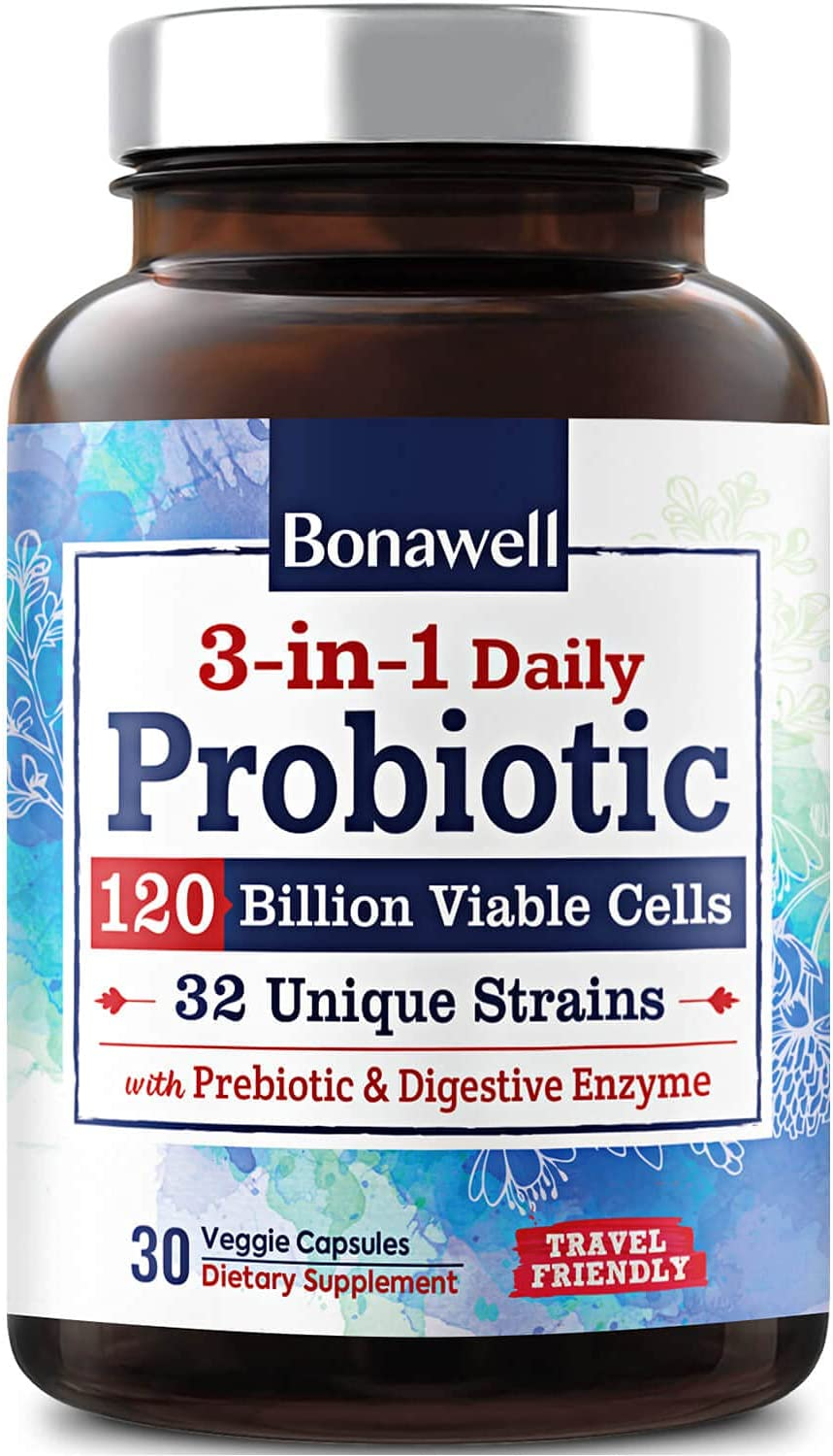 Bonawell 3-in-1 Daily Probiotics 120 Billion CFU 32 Strains with Organic Soluble Prebiotic, Natural Digestive Enzyme for Gut Health, Digestion & Immunity, Shelf-Stable Delayed-Release, 30 Veggie Caps: Health & Personal Care