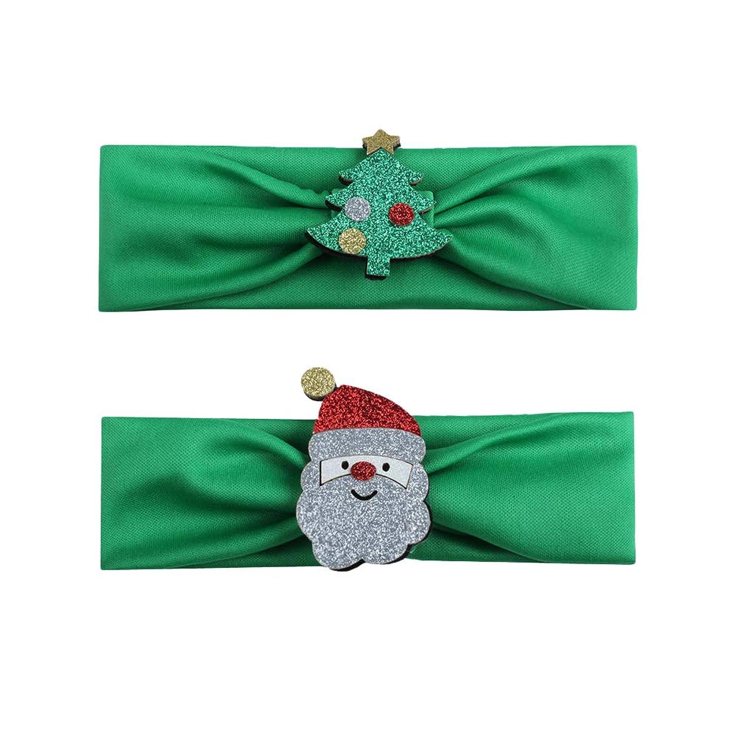 ご飯戦術困惑するBESTOYARD 2本の赤ちゃんの少女クリスマスのヘッドバンド、クリスマスツリーサンタクロースの幼児ヘアバンドアクセサリー(グリーン)