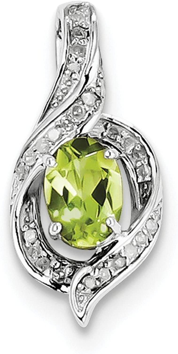 0.78ctw Diamond and Peridot Drop Pendant for Necklace Sterling Silver Rhodiumplated