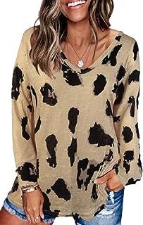 GAGA Women Autumn Long Sleeve T-Shirt Casual V-Neck Loose Baic Tee Top