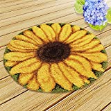 DIY Rug Crochet Yarn Kits Latch Hook Kit Embroidery Carpet Set (Sunflower,21x21  (52X52cm)