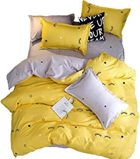 Sookie 3 Piece Eyelash Curved Duvet Cover and Pillow Shams Bedding Set, Soft and Comfortable Graceful Reversible Durable (Full/Queen Size,Yellow)