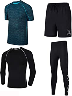 4-Piece Men's Sportswear Suit, Leggings, Long-Sleeved Shirt, Short-Sleeved T-Shirt and Loose Shorts,Workout Clothes Men's ...