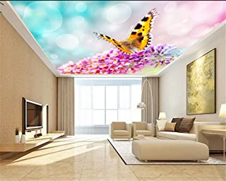 Ceiling Fresco Wallpaper for Walls 3 d Fashion HD Large Wallpaper Romantic Flower Butterfly 3D Ceiling Home Wall Decoration
