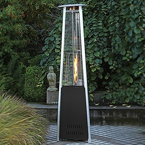 BTGGG Freestanding Heater Gas Pyramid Patio Heater with Wheels Easy to Move with Tip-over Flame Failure Protection Heater for Outdoor Garden, Black