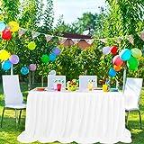 PiccoCasa - Falda de mesa de tul blanco para mesas rectangulares de 1,8 m, para decoración de mesa de cumpleaños, boda, decoración de mesa larga de 76 x 182 cm
