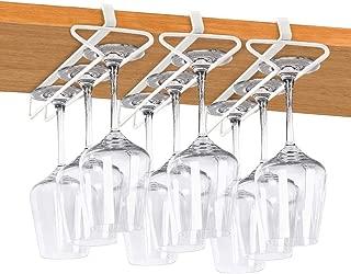 Wine Glass Holder, White Stemware Rack No Drilling Metal Wine Glasses Organizer Fit for Bar, Cabinet, Pack of 3