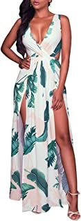 Meenew Women's Sleeveless V Neck Boho Floral Print Beach High Split Maxi Dress
