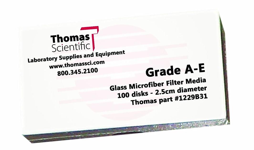 Thomas AE4700 Borosilicate Glass Microfiber Filter, 1 Micron, Fast Flow, Grade A-E, 47mm Diameter (Pack of 100)