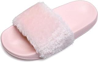 JIASUQI Womens Furry Faux Fur Warm Slippers Cozy Memory Foam House Slippers Soft Flat Slide Sandals Indoor Outdoor Slipper...