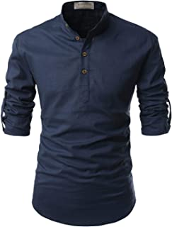 Transform Roll-Up Sleeve Mandarin Henley Neck Linen Shirts
