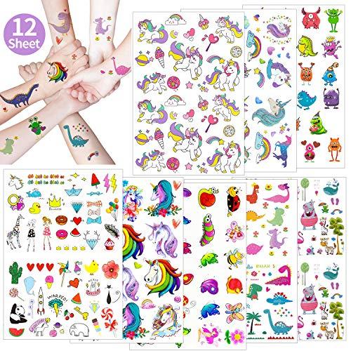 Oblique Unique® XXL Kinder Tattoo Set 208 Stück für Mädchen Einhorn Schmetterling Herz Panda Lolly Zebra Motive UVM. Farbenfrohe Temporäre Tattoos zum Spielen Kindergeburtstag