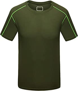 Quick-Dry Tops, Solid Men's Running Plus Size Quick Dry Compression Short Sleeve Run Shirt Fitness Tight Soccer Jersey