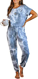 Bdcoco Womens Tie Dye Printed Pajamas One Piece Short Sleeve Jumpsuits Loungewear PJs Nightwear with Pockets