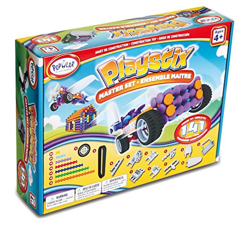 Popular Playthings Playstix Master Set Construction Toy Building Blocks 141 Piece Kit