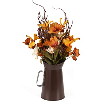 HO2NLE Artificial Fake Flowers Silk Daisy Pot Decor Fall Artificial Sunflowers with Metal Pot Faux Silk Flowers for Indooor Home Table Centerpieces Party Decoration