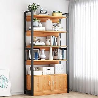 DorisAA Librero Estantes 6 Nivel Metal y Madera estantería de la Sala Industrial Libro Mueble del salón (Color : Beige, Size : 80x30x175cm)