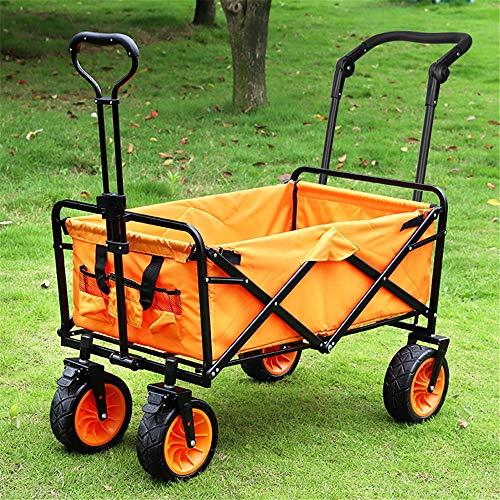 Carros y vagonetas Camping al aire libre Cesta carros de mano de la playa con el confort de la manija y amplio de los neumáticos Carrito de jardin de servicio ( Color : Orange , Size : 85x57.5x100cm )