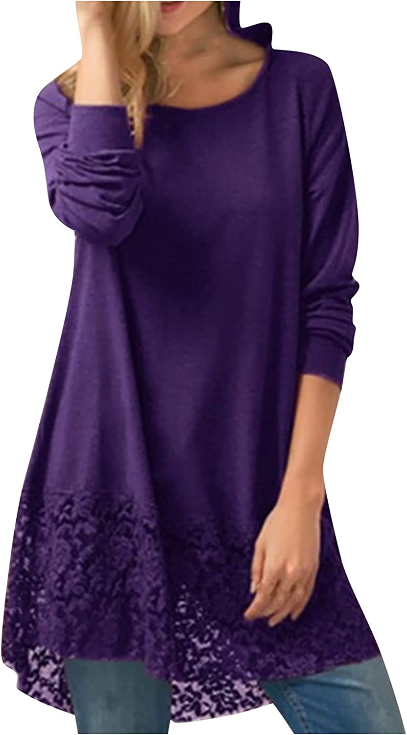 Womens Autumn Solid Color Lace Long Sleeve Shirt Pullover Stitching Round Neck Midi Tunic Tops Shirt Blouse