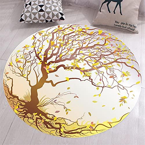 Kunsen alfombras niños Alfombra Carretera La impresión Circular en la Alfombra de la Sala de Estar es Lavable a máquina y no se desvanece. alfombras Dormitorio 100X100CM 3ft 3.4' X3ft 3.4'