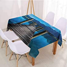 VICWOWONE Seascape Rectangle Polyester Tablecloth Suitable for Camping Wooden Pier Serene Lake,Rectangle - W54 x L72 inch