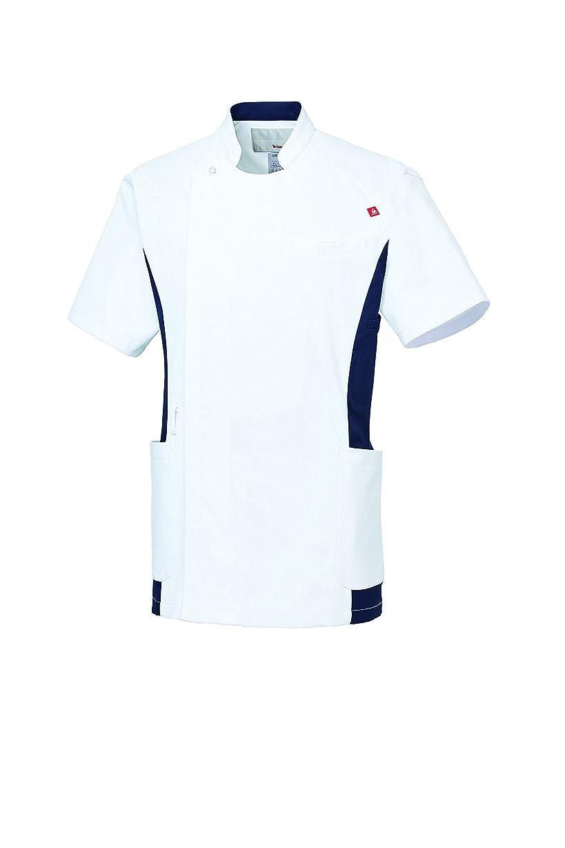 種をまく筋肉の驚くべき医療ユニフォーム 医療衣ジャケット メンズ ルコック ホワイトXネイビー サイズ:L UQM1006-15