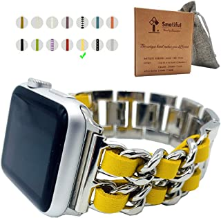 Smatiful Retro Bands for Women,Replacement Waterproof Band Compatible with Apple Watch Series 1/2/3/4/5 3rd Generation 38mm 40mm,Silver Chain with yellow Belt