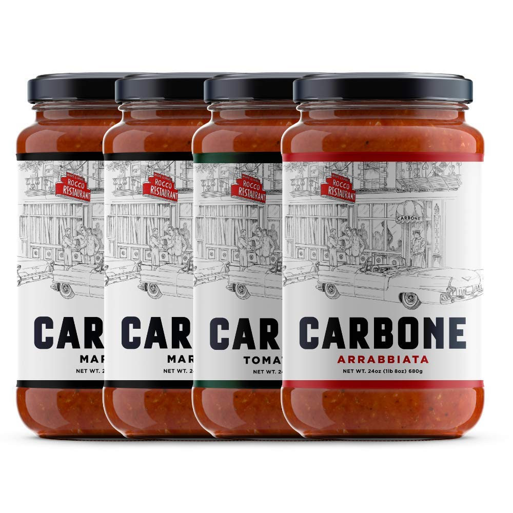 Carbone Pasta Sauce Variety Pack | Marinara, Arrabbiata & Tomato Basil | Made with only the finest, imported ingredients | vegan, no added sugar, non-gmo, gluten free | 4-pack of 24oz jars