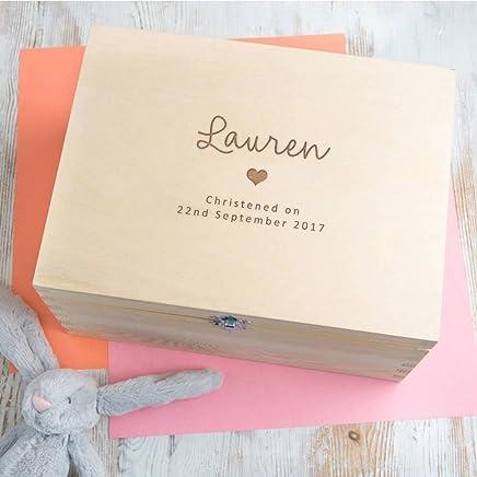 Personalized Baptism Keepsake Box - Baptism Gifts for Baby Girl or Boy - Engraved Wooden Keepsake/Memory Box