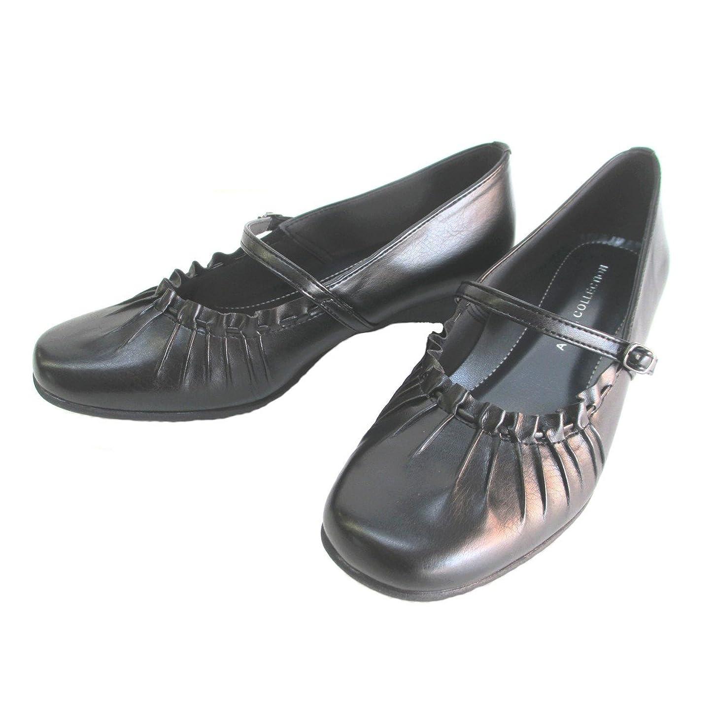 非行敗北厄介な[アンナコレクション] 3742 レディース カジュアルパンプス ストラップ 仕事靴 通勤靴 ブラック