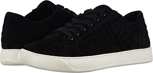 Black Quilted Suede