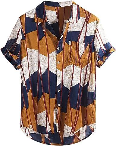 HX fashion Camisa Casual De Color Para Rayas De Hombre ...