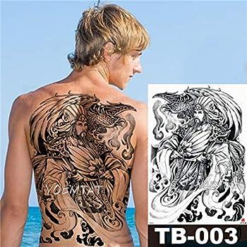 1 Sheet Big Large Full Back Chest Tattoo Sticker Buddha Rosary beads Dragon Body Art Temporary Waterproof for Women Men Tattoo