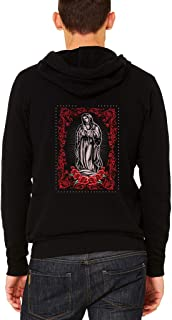 Men's Virgin Mary Ring of Roses Black Fleece Zipper Hoodie Black