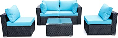 Viewee 5-Piece Patio Furniture Set PE Black Rattan All-Weather Wicker Sectional Outdoor Sofa Washable Blue 4-Cushions & 6-Pil
