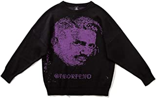 LIUFULING Men and Women Couple Sweaters Slim Handsome Round Neck Avatar Print Sweater (Color : Purple, Size : XXL)