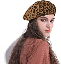 Jewelry-Box Fashion Lady Leopard Print Beret Hat Wool Warm Plain Beanie Hat Cap