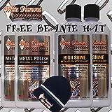 White Diamond Detail Products, pulidor de metal y paquete de cubos de alto brillo con gorro de frijol gratis