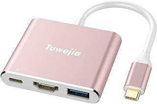 USB 3.1 النوع C إلى HDMI Adapter Tuwejia 4K+USB 3.0+USB-C كابل محول شحن منفذ كابل مع بروجكتر كبير لـ MacBook/Chromebook Pi...