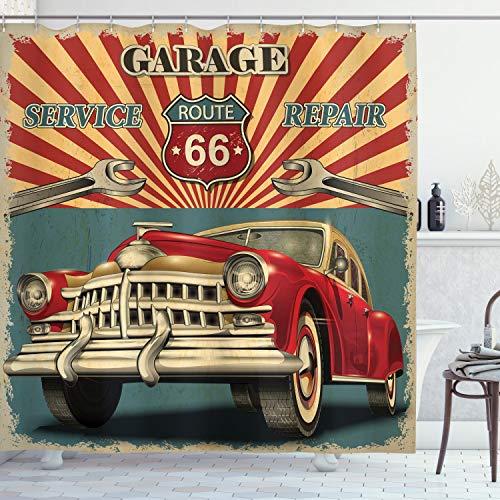 "Ambesonne Americana Shower Curtain, Vintage Garage Repair Shop Advertising Automobile Rustic Vehicle Nostalgic Retro Art, Cloth Fabric Bathroom Decor Set with Hooks, 84"" Long Extra, Teal"