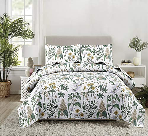3 Piece Floral Quilt Yellow Syringa Lightweight Flower Lilac Bedspread Sets Clove Coverlets Summer Blanket Throw King Size 90'x102' with 2 Floral Pillowcases