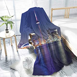jecycleus Blue Children`s Blanket Canada Toronto Sunset Over The Lake Panorama Urban City Skyline with Night Lights Lightweight Soft Warm and Comfortable W60 x L70 Inch Blue Pink Peach