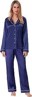 Women's Satin Pajama Set Long Button Down Sleepwear with Pants ZE0052