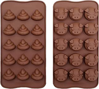 Piggy and Poop Face Emoticons Chocolate Tray Mold 15-Cavity Cute Pig and Poo Emoji Mini Jelly Pudding Silicone Mould Pack of 2