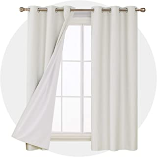 Deconovo Shiny Textured Blackout Curtains Sun Blocking Thermal Insulated Panel Drapes with White Coating for Living Room Silver Off White 42W x 72L Inches 2 Panels
