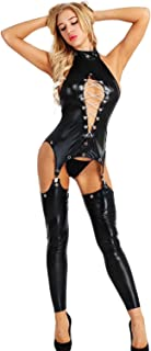 Women's Wet Look Open Breast and Hip Faux Leather Metal Chain Punk Sexy Clubwear Black