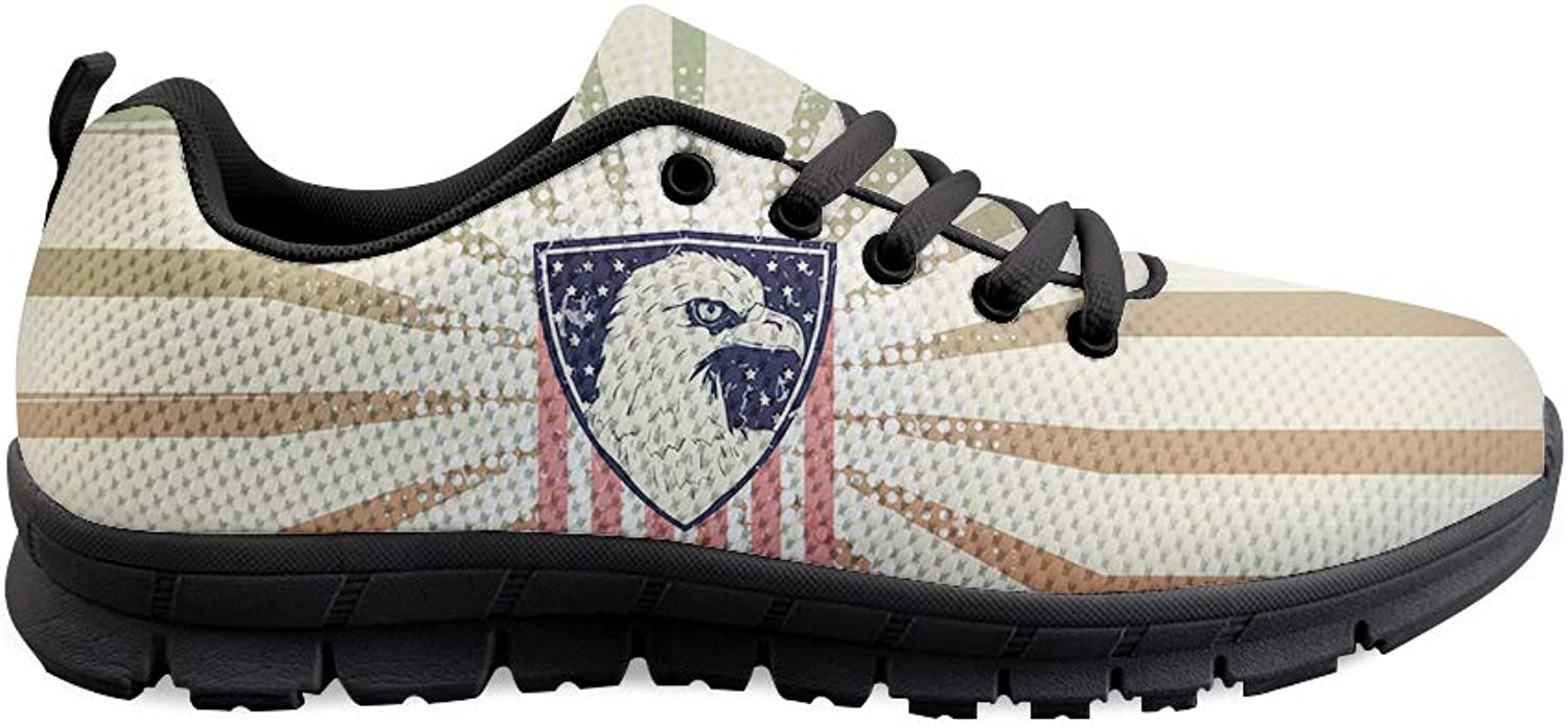 Owaheson Lace-up Sneaker Training shoes Mens Womens American Flag Bald Eagle Seal Badge